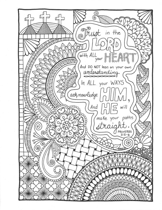 Proverbs 3 5 6 christian faith art journaling and bible for Trust god coloring page
